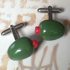 Unique STUFFED OLIVES CUFFLINKS handmade GREEN gift PIMENTO pepper GREEK SPANISH