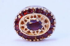 14kt Yellow Gold R Klein KLJCI Slide Bracelet Oval Large Charm Garnet Red Stone