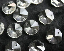 50PCS 14mm 2 Hole Octagon Crystal Chandelier Lamp Chain Part Replace Prism Bead