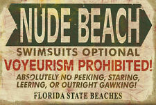 Retro Vintage Nude Beach Sign