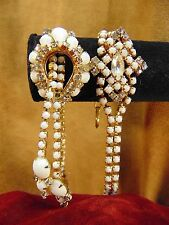 VINTAGE Jewelry Set MILK GLASS RHINESTONE JEWELRY Bracelets & Necklace 1940s/50s