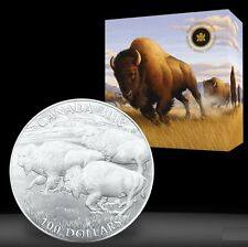 2013 Canada $100 for $100 American Bison stampede 1oz Fine Silver coin .9999
