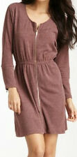 NWT SZ M ZIPPER FRONT RUSTY RED SWEAT STYLE SHORT TUNIC DRESS ZIP SLEEVE