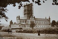 Buckfast Abbey 1937 Repairs Scaffolding Unused Photographic Postcard Devon