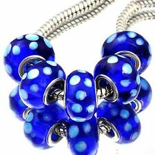 5Pcs 925 Silver 2-Blue color Crystal MURANO GLASS charms european beads