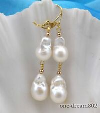 RARE 19mm baroque white keshi reborn pearl dangle earring
