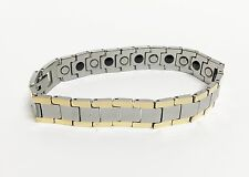 NEW GOLD+GUNMETAL TUNGSTEN CARBIDE GERMANIUM ENERGY MAGNETIC UNISEX BRACELET