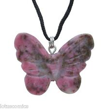 Transformationally Carved Rhodonite Gemstone Butterfly Pendant FREE SHIPPING