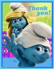 SMURFS THANK YOU NOTES (8) ~ Birthday Party Supplies Stationery Cards Smurfette