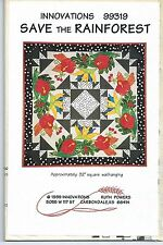Save the Rain Forest Unused Quilt Pattern with Applique