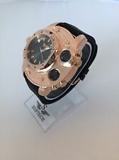 F&MJ729 Rose Gold & Black Mens Watches Gents Designer Softech Quartz Wrist Watch