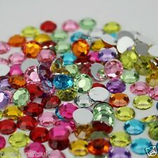 100pcs Mixed Colours 10mm Flat Back Thick Taiwan Acrylic Rhinestones Craft Gems
