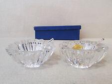 ancienne paire de salerons en cristal de vannes et leur cuillere boite