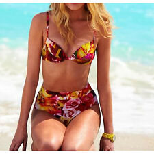 Newport Multi Coloured Tropical Floral Retro High Waist Bikini Swimsuit Sz 8