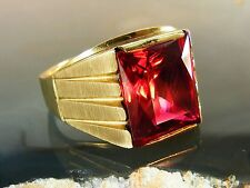 Antique 10k Men's American Art Deco 6ct Ruby RING Size: 9.75 Yellow Gold