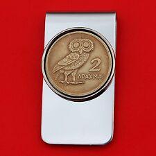 1973 Greece 2 Drachma Athena's Owl Coin Gold Silver Money Clip NEW
