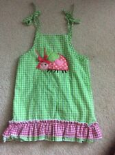 MUD PIE Toddler Girls 2T 3T Ladybug Sun Dress Green Pink Gingham Lined Cotton