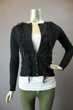 $1525 New BLUMARINE Black Raw Ribbon Fringe Applique Cardigan Wool Sweater 6 40