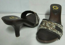 NEW! GUESS BOWTIE SIGNATURE LOGO BROWN SLIP-ON SLIDES SHOES SANDALS 6.5 SALE