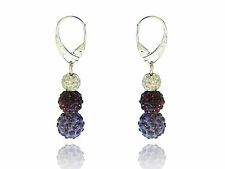 Shamballa 3 Sizes Disco Balls Amethyst, Deep Purple & White Drop Earrings E438