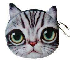 Flauschiger Münzbeutel / Geldbeutel / Geldbörse mit süßem Katzenmotiv (Grau)
