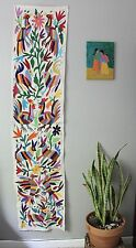 OTOMI FABRIC HAND EMBROIDERED 100% COTTON TABLE RUNNER MEXICAN FOLK ART DECOR
