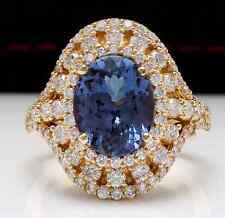 5.00 Carats NATURAL TANZANITE and DIAMOND 14K Solid Yellow Gold Ring