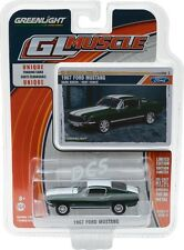 GREENLIGHT MUSCLE  1967 Ford Mustang Green w/ White Stripes 1/64 DIECAST 13170-A