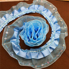 3 yards 3-Layer sky Blue organza Lace sequined Trim  Gathered IG166