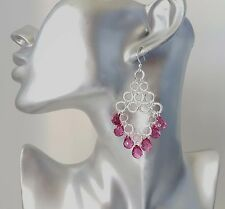 Gorgeous shiny silver tone chain link drop earrings with purple bead drop detail