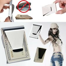 ID Dollar Clamp Holder Double Sided Wallet Stainless Steel Money Clip Slim