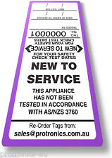 NEW TO SERVICE- TAG LABELS, 50 TAGS, Test & Tag for Appliance Tester