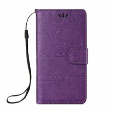 Embossed Elephant Leather Wallet Case Flip Cover Stand Card Slot for Cell Phones
