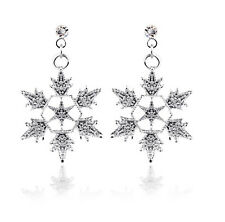 Luxury Shiny Silver Winter Snowflake Drop Earrings Xmas Christmas Gift E923