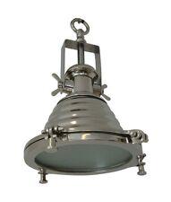 NOBLE PLAFONNIER 'NYBORG' CHROME 26cm INDUSTRIE ROND USINE GRIS ARGENT LAMPE
