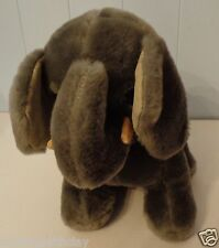 "VINTAGE 1986 DAKIN  9"" SITTING PLUSH DOLL FIGURE ELEPHANT  IVORY LEATHER TUSKS"
