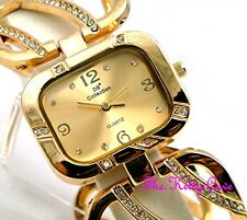 Gold Plated Designer Wide Wavy  Bars Dress Cage Watch w/ Swarovski Crystal Bling