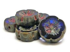 14mm Sapphire Blue Picasso Czech Glass Carved Table Cut Flower Beads (6) #B138