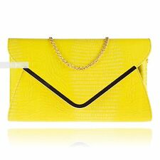 New Yellow Croc Print Envelope Wedding Ladies Party Prom Evening Clutch Hand Bag