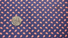 "Vintage Cotton Fabric SMALL RED & WHITE PAISLEY ON NAVY BLUE 1 Yd/43"" Wide"