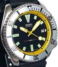 Vintage mens SEIKO diver 7002 mod w/YELLOW Hand Set/Chapter Ring & SILVER bezel!