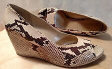 AQUATALIA by Marvin K. Python Snakeskin Wedge Pumps Open-Toe Womens US 9.5..EUC!