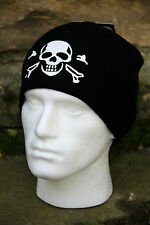 SKULL & CROSS BONES - BLACK - BEANIE - WATCH CAP - SKI - WINTER HAT - PIRATE