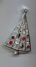 LIA  GREEN  RED CLEAR CHRISTMAS TREE PIN silver