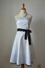 1950s 50s Costume Rockabilly Vintage Swing Dress Polka Dots Black White Small