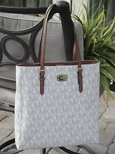 MICHAEL KORS JET SET TRAVEL LARGE NORTH SOUTH NS PVC TOTE BAG VANILLA SIGNATURE