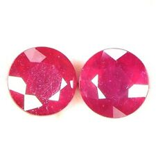 NATURAL WONDERFUL RED RUBY LOOSE GEMSTONES (2 pieces) ROUND-CUT (6 - 6.2 mm)