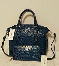 BRAHMIN DUXBURY CROSSBODY MED. & SURI WALLET PALACE BLUE MELBOURNE LEATHER