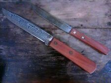 Vintage Lot 2 Hanson Knives Wooden Handles Made in Taiwan Smooth Edge Wood