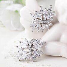 Beautiful Stud Diamante Rhinestones Crystal Wedding Silver Earrings